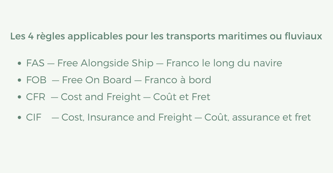 Les 4 règles applicables pour les transports maritimes ou fluviaux