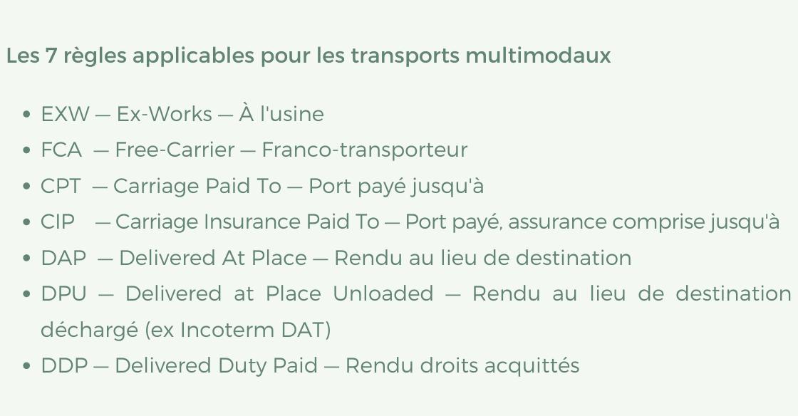 Les 7 règles applicables pour les transports multimodaux