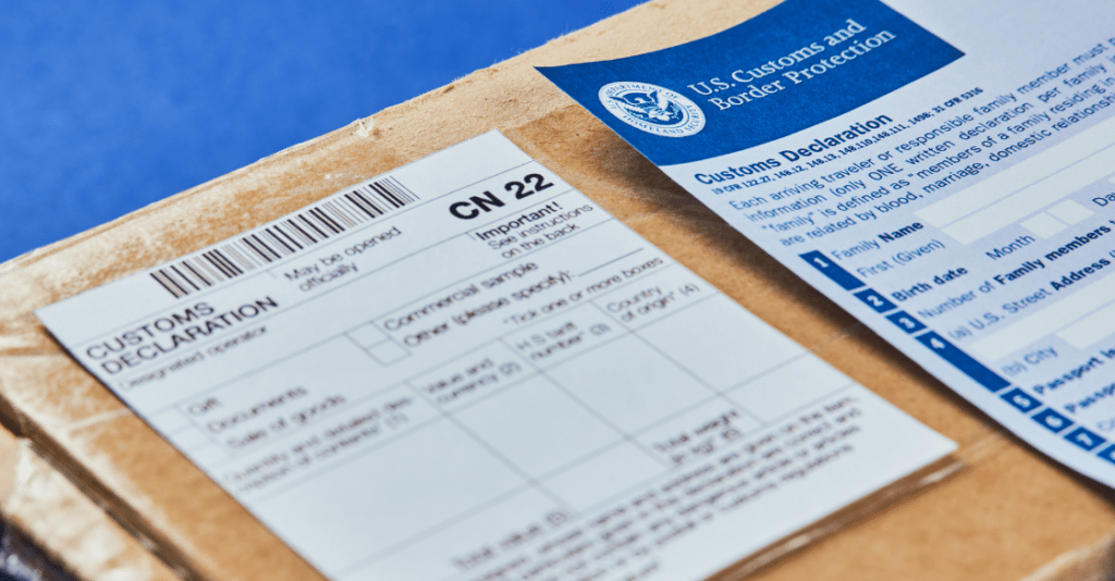 A customs declaration form attached to a shipment. Part of the customs clearance process.