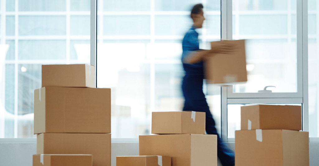 Professional mover assisting in a business relocation.
