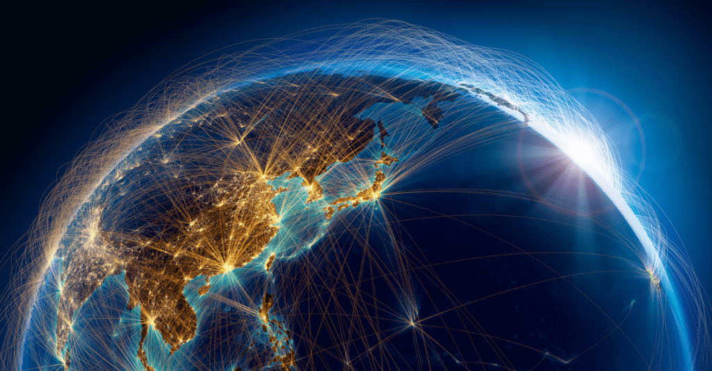 Earth view from space. Shipping destinations connected by line and dot graphics. The concept of global transportation.