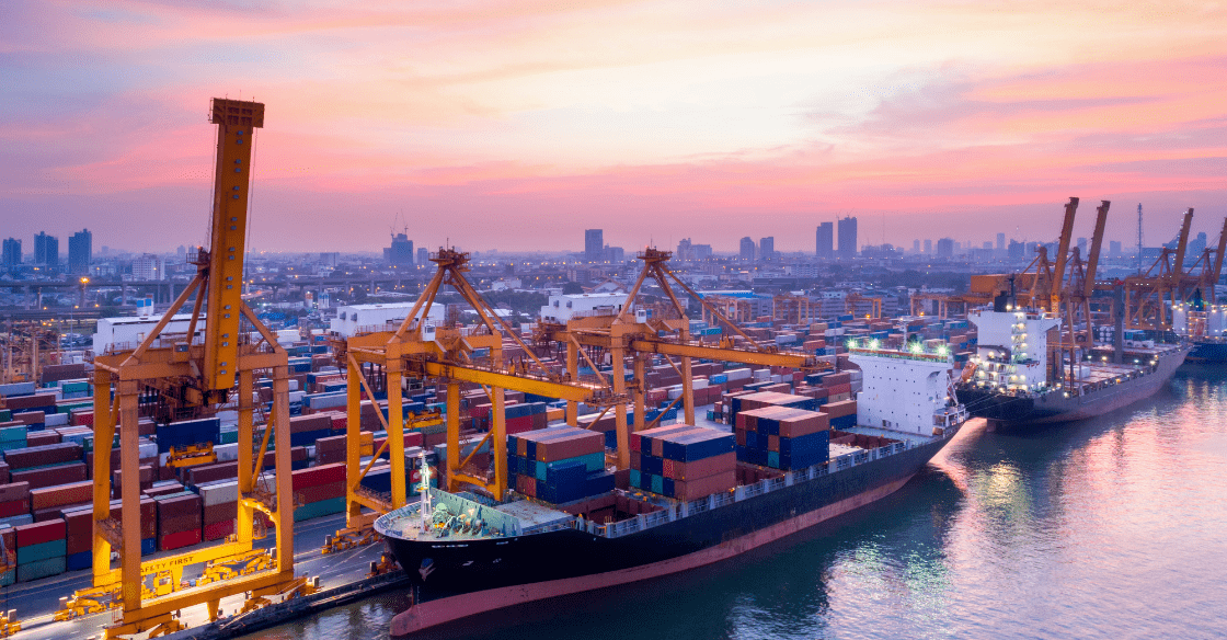 Shipping port with cargo vessels for sea transport